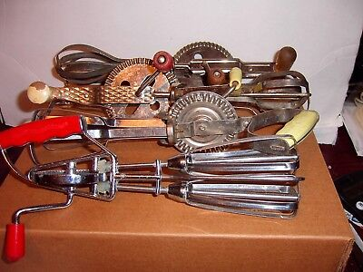 Vintage Primitive Hand Held Mixer/Egg Beater 4 Lot All Different Nice Collection