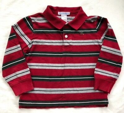 Janie and Jack Long Sleeve Polo Shirt Boys Size 2 EUC Red White Green Stripe