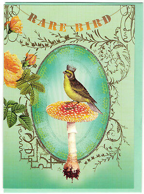 Papaya Art Crowned Bird Blank Fine Greeting Card Birthday Christmas