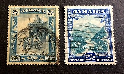 Jamaica 1920 & 1932 - 2 old used stamps 2 1/2 Pence