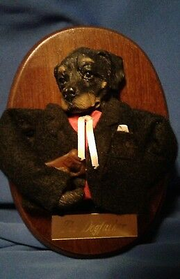 """Vintage Rottweiler Wall Plaque inscribed """"The Dogfather"""" 1991"""