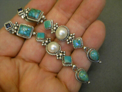 Southwestern Turquoise Pearl Sterling Silver Clip On Earrings with Dangles