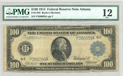$100 Series 1914 Federal Reserve Note Atlanta district comment free PMG Fine 12