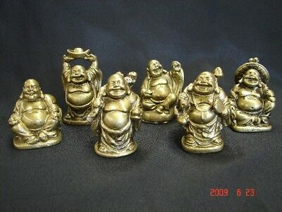 6 Golden Chinese Money Laughing Buddha Statues Figurines
