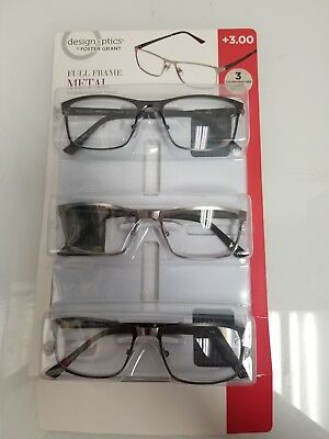 111b5d2be176 Design Optics By Foster Grant Reading Glasses Full Frame Metal 3 Pack +3.00