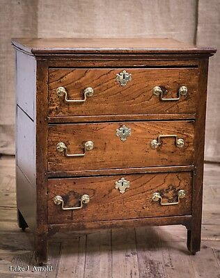 Antique Late 17th / Early 18th Century Elm Chest of Drawers Of Small Proportions