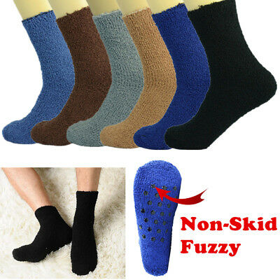 6 Pairs For Mens Soft Cozy Fuzzy Socks Non-Skid Solid Home Slipper Size 9-13