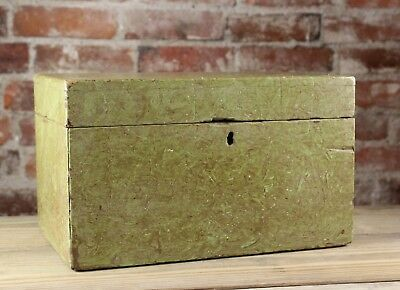 Antique 19Th Century Early American Rag Painted Wood Document Box No Reserve