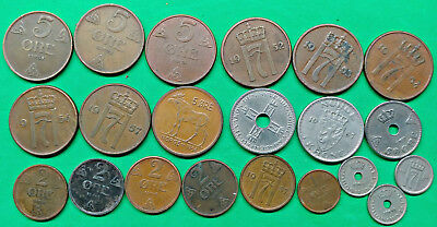 Lot of 21 Different Old Norway Coins 1926-1964 Vintage Nordic !!