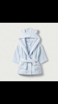 The Little White Company baby blue bathrobe dressing gown 0-6 months