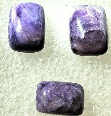 Designer dream! 2 Russian purple charoite cabochon size 10 x 14mm weight 13 cts