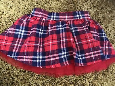 Gorgeous Baby Girls Red  Tartan Tutu Style Skirt Age 6 -9 Months Immaculate