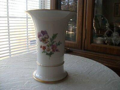 Hochst Hand-Painted Porcelain Vase with flowers, Made in Germany