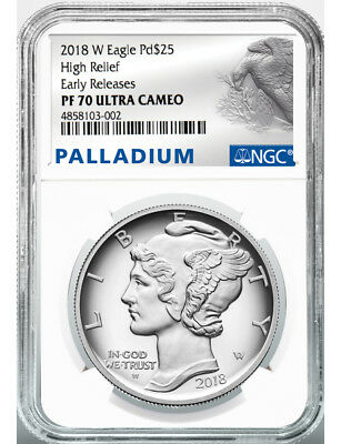 2018-W Palladium Eagle High Relief Early Releases NGC PF70 Ultra Cameo