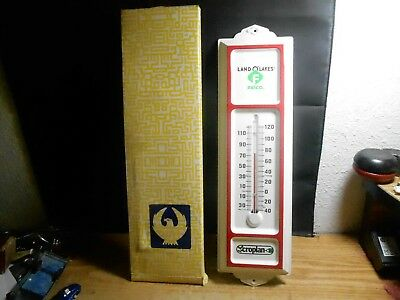 "Land O' Lakes Felco Croplan Metal Thermometer 13 1/4"" W/box Usa Seed Feed Farm"