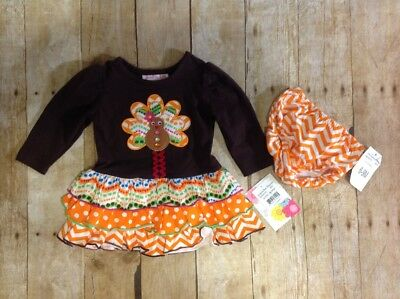 NWT Thanksgiving Jessica Ann 6-9M Brown Dress, Turkey Applique, Twins (UU004-05)