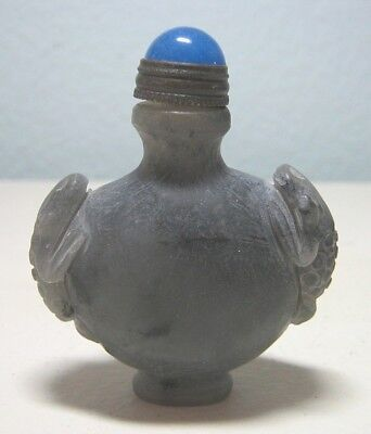 Green Jade Chinese Snuff Bottle w/ Spoon - a Frog on each Shoulder