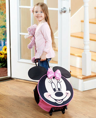 DISNEY KIDS BOYS MICKEY or GIRLS MINNIE MOUSE MOLDED ROLLING LUGGAGE SUITCASE