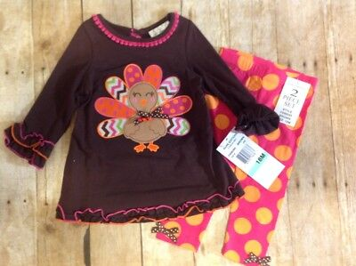 NWT Thanksgiving 18M Rare Editions Turkey Applique Top with Leggings (UU010-012)