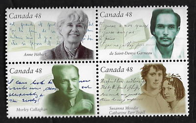 Canada Stamps — Block of 4 — National Library: Authors #1994@1997 (1997a) — MNH