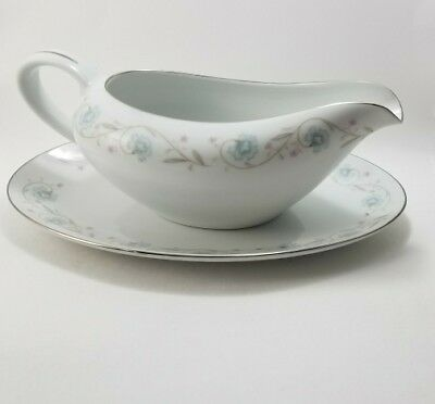 English Garden Fine China Gravy Boat with Under Plate 1221 Japan