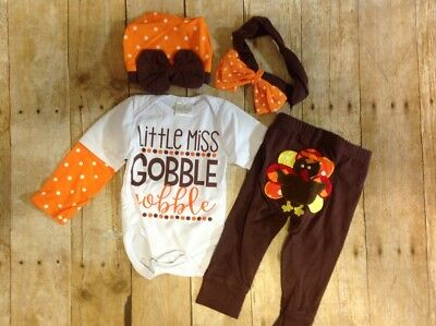 NWT Thanksgiving Set, 0-3M 1 Piece, Pants, Beanie Hat, Headband, Turkey (UU013)