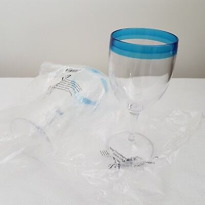 NEW Tupperware Wine Glasses set of 2 Blue Allegra