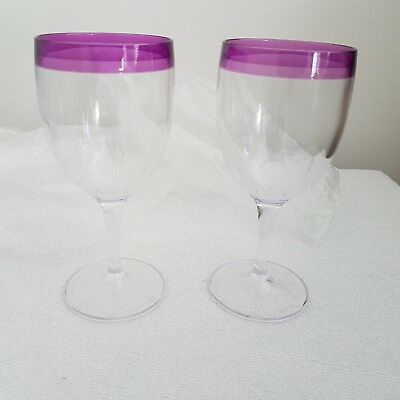 NEW Tupperware Wine Glasses set of 2  Purple Trim.