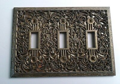 Vintage Filigree Victorian Triple Toggle Light Switch Cover Gold Metal