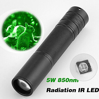 5W 850NM LED Flashlight Infrared IR Torch Zoomable Night Vision Scope Light Lamp