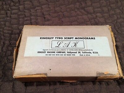 Kingsley Hot Foil Machine Type Letters Small Elegance Initials Sorted