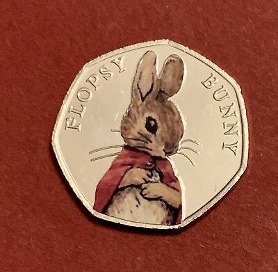 2018 Beatrix Potter 50p Coin Coloured Stickers UNC Flopsy Bunny From Sealed Bag