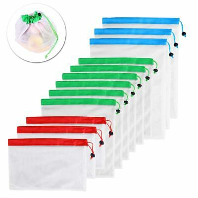 1X(12pcs Reusable Mesh Produce Bags Washable Eco Friendly Bags for Grocery S1B3