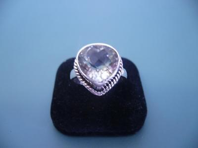 STERLING SILVER 925 LOVELY CHUNKY CHECKER CUT GREEN AMETHYST RING - 8 / Q.5 - 6g