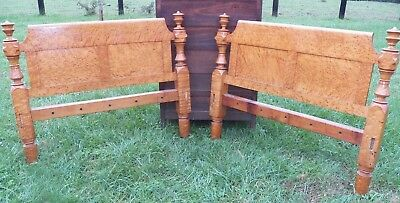 Pair Curly Birdseye Maple Antique Turned Post Bed Head Boards Tiger single size