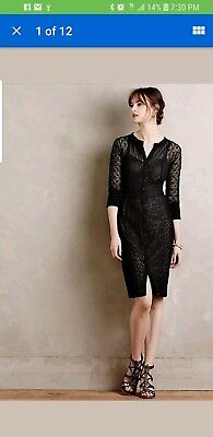Anthropologie Beguiled Byron Lars Mona Lace/Crochet Overlay Sheath Dress Size 6