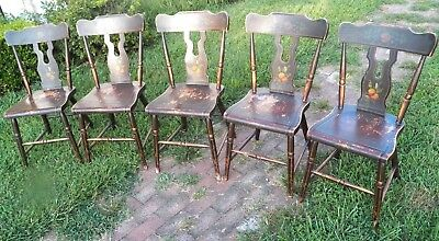Set Of 5 Paint Decorated Plank Seat Chairs Farmhouse Bootjack Rustic Primitive