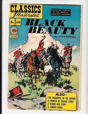 "CLASSICS ILLUSTRATED #60 (HRN 62-O) ""Black Beauty"" LDC ORIGINAL 4.0 VG (1949)"