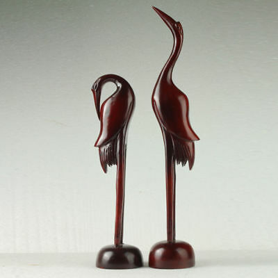 A Pair Of Rare Chinese Wood Hand-Carved Lifelike 2 Cranes Statue