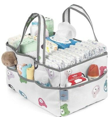 Baby Diaper Caddy Organizer | Nursery Storage Bin and Car Organizer for Diapers
