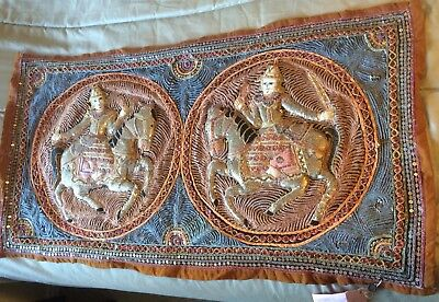 2 Horse And Soldiers Thailand/Burmese Kalaga Tapestry Hand Embroidered Beaded