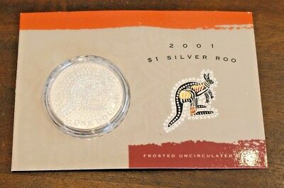 Australia 2001 $1 Silver Kangaroo frosted UNC in RAM packaging. 1oz .999 silver
