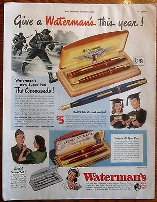 Commandos with Tommy Guns in WWII Waterman Pen Ad