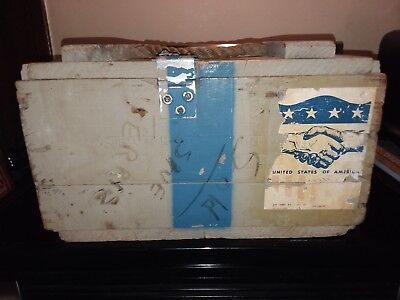 Vintage U.s. Military Wooden Ammo Box Crate Loaded 1953