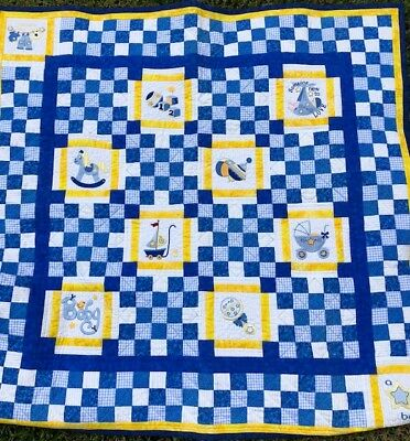 Hand Made Baby Quilt for boy - Embroidered / Patchwork / Quilted - Blue / Yellow