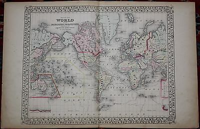 The World Rare Original Antique 1870 Mitchell's Atlas Map