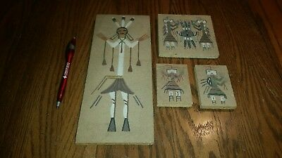 Lot of 4 signed Native American Indian Navajo Sand Paintings Art