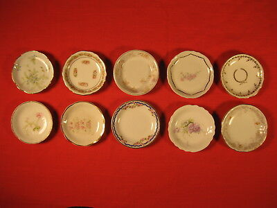 Lot Of 10 Different Vintage Butter Pats 3 Inch Wide China Mini Plates (Lot 1)