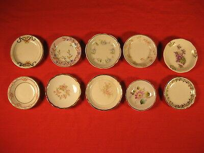 Lot Of 10 Different Vintage Butter Pats 3 Inch Wide China Mini Plates (Lot 2)