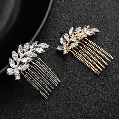 Rhinestone Leaves Hair Comb Clip Wedding Bridal Alloy Hair Pins Women Jewelry
